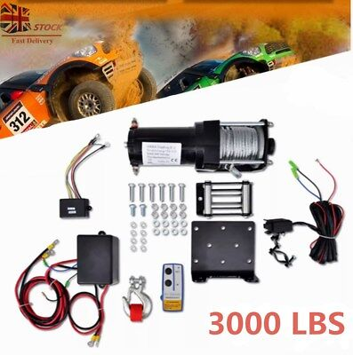 3000lbs Electric Recovery Winch 12V Wire Remote Control Kit ATV Trailer Truck UK