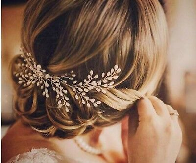 Women Prom dance headpiece Bride wedding Pearl Comb Silver hair Head accessory