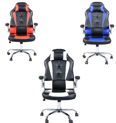 High Back Office Gaming Chair Racing Computer Desk Seat Leather Swivel Recliner