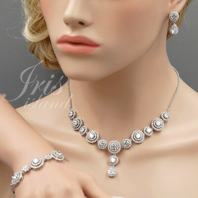White Gold Plated Clear Cubic Zirconia Necklace Bracelet Earrings Jewelry Set 65