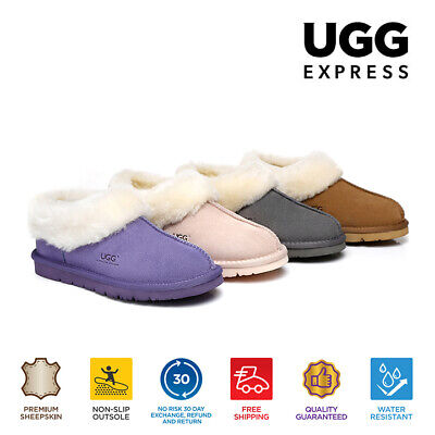 UGG Slippers AS*Homey, Unisex, Premium Australian Sheepskin,Suede Upper