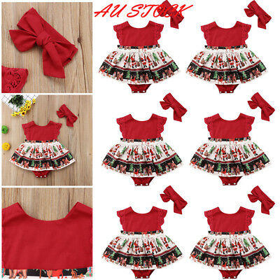 AU 2Pcs Xmas Infant Kids Baby Girls Romper Dress+Headband Christmas Party Outfit