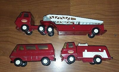 Set of 3 vintage Tonka Mini Fire Trucks 1960's played with but nice!