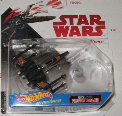 Star Wars Hot Wheels Starships Poe's X-Wing Fighter with Flight Stand New