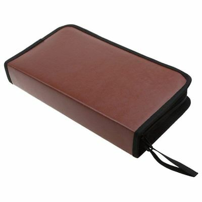 80-Discs Portable Leather Storage Bag Zippered Storage Case for CD DVD Hard A9L1