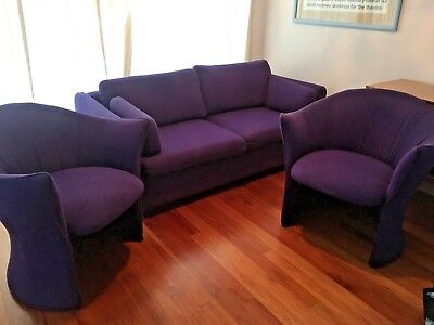 Original Mid Century Retro Purple 3 Piece Lounge Suite Armchairs Couch Sofa Bed