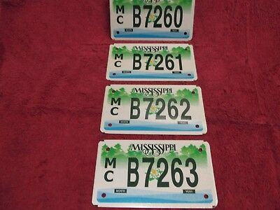 MISSISSIPPI MOTORCYCLE LICENSE PLATE PLATES X4 for one price These are still new