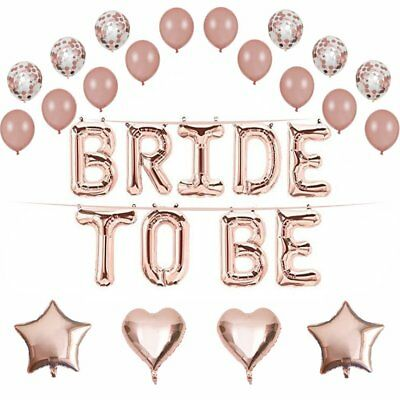 Team Bride To Be Just Married Rose Gold Confetti Balloons Letter Wedding