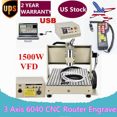 USB 3 Axis 1.5KW 6040 CNC Router Engraver Drilling Machine 3D Cutter + Handwheel