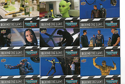 2017 Marvel Guardians of the Galaxy Vol 2; 15 Card Behind the Lens Chase Set