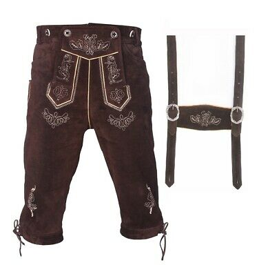Bavarian Mens Oktoberfest Costume Lederhosen Long Genuine Leather Kniebundhosen