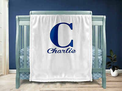 Personalised baby blanket - Blue/Boy/Name/christening/Newborn/Unisex/Cute/Baby