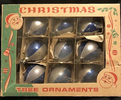 Lot 9 Blue/Silver Antique Vintage Polish Tear Drop Christmas Ornaments W/ Box