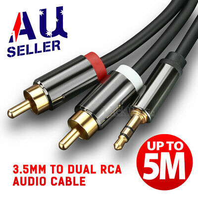 Premium Stereo Audio 3.5mm Aux Jack to 2 RCA M/M Y Cable Gold Plated 1M~5M AUS