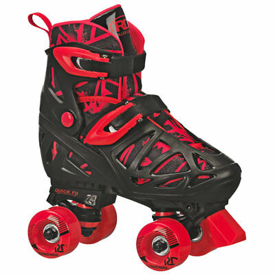 RDS Kids Boys Trac Star Adjustable Roller Skates Black Red US Size 12-2 & 3-6