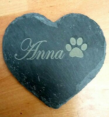 Personalised Engraved Slate Stone Heart Pet Memorial Grave Marker Plaque Dog