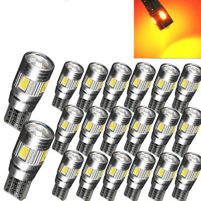 20 X T10 Amber LED Error Free Canbus 6SMD Side Wedge Light Bulb 194 168 W5W