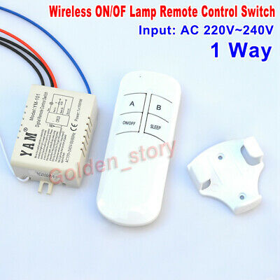 AC220V 230V 1 Way Wireless ON/OF Lamp Remote Control Switch Receiver Transmitter