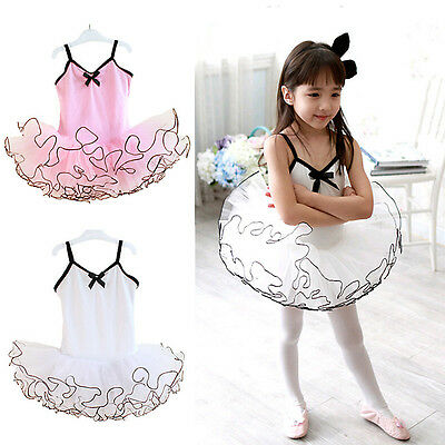 Girls Gymnastics Dance Dress Ballet Leotard Tutu Skirt Dancewear Costume for Kid