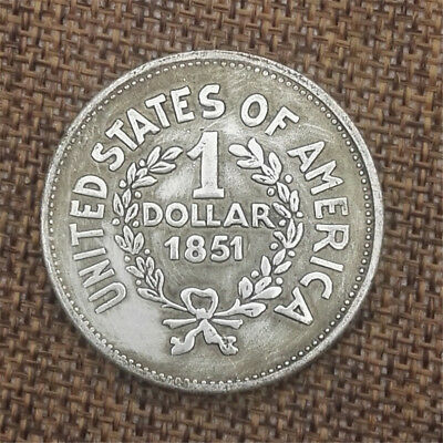 1851 Indian Head Cent Penny Antique Silver Plated Coins Commemorative Collection