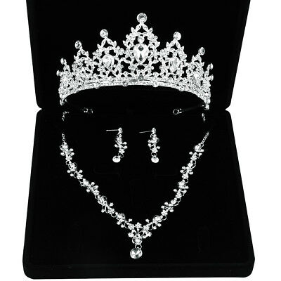 Crystal Rhinstone Wedding Tiara Headbands Necklace Earring Set Bridal Jewelry