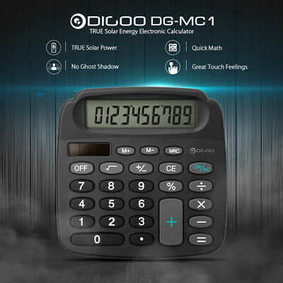 Digoo 10-Digit Solar Battery Electronic HD LCD Calculator + 1x CR Button Battery