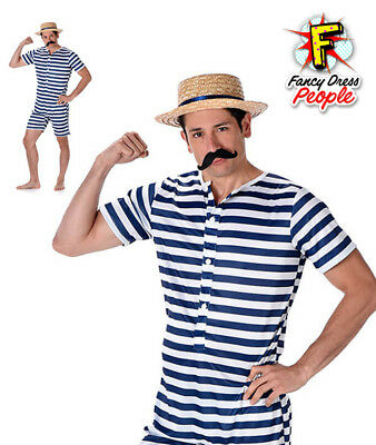 Mens Victorian Bathing Suit Fancy Dress Costume Old Time Swimming