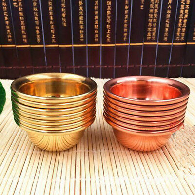 7x Tibet Tibetan Buddhist Copper Water Offering Bowl Divine Focus Ritual Vessel