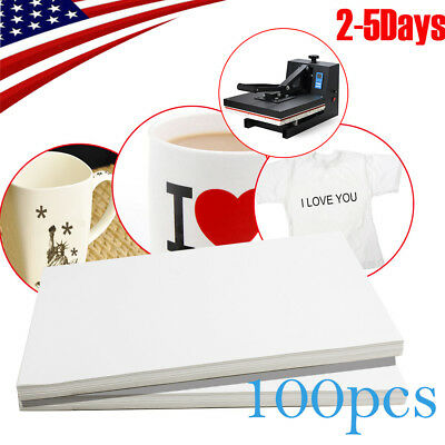 100 PCS A4 Dye Sublimation Heat Transfer Paper for Mug Cup Plate T-Shirt US SHIP