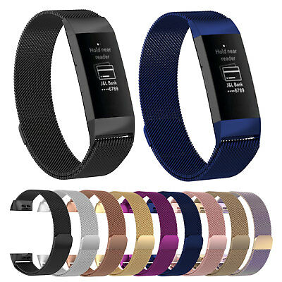 Stainless Milanese Magnetic Loop Watch Band Strap Wristband For Fitbit Charge 3