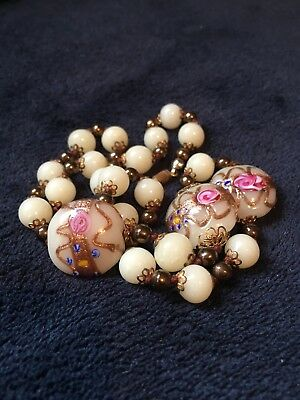 Vintage Rare Antique Art Deco Venetian Murano Wedding Cake Glass Bead Necklace