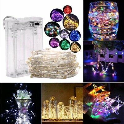 1/2/5/10M Battery Powered Copper Wire String Fairy Xmas Party Lights Warm White