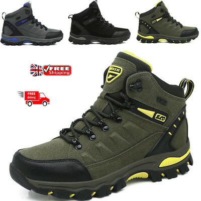 Mens Outdoor Hiking Boots Walking Ankle Lace Up Trail Black Trekking Trainers