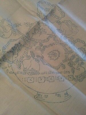 Vintage linen tablecloth stamped to embroider flowers 35 in P