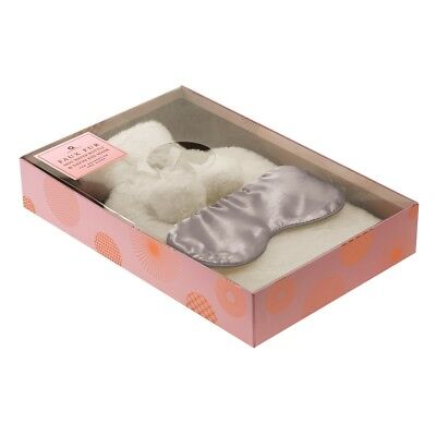 Aroma Home Cream Faux Fur Hot Water Bottle & Scented Satin Eye Mask Gift Set