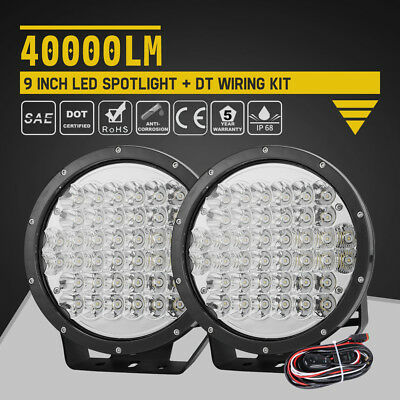 9 inch 400W 2Pcs LED Work Lights Round Spotlight Offroad Driving w/DT Wiring Kit