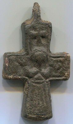 Ancient Byzantine Bronze Cross Jesus Balkan Type 11 Century!!!