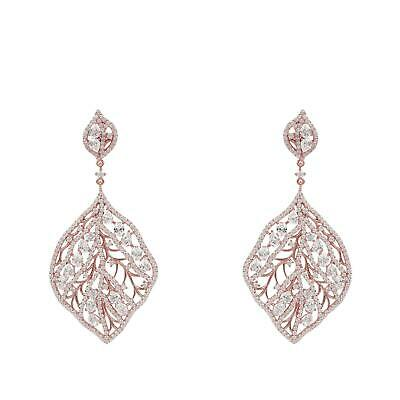 Latelita Leaf Floral Flower Earrings Large Rose Gold 925 Silver CZ Big Pink Gift
