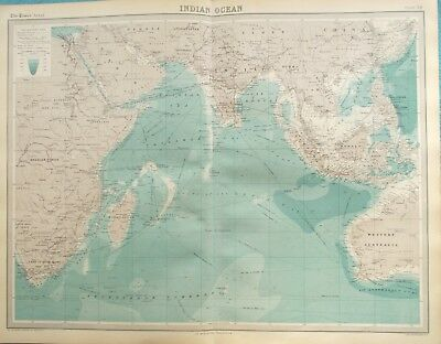 Map of Indian Ocean. 1922 INDIA. AFRICA. SOUTH EAST ASIA. Original