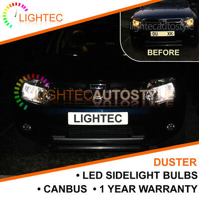 2x DACIA DUSTER CANBUS NO ERROR SMD LED XENON WHITE W5W T10 501 SIDE LIGHT BULBS