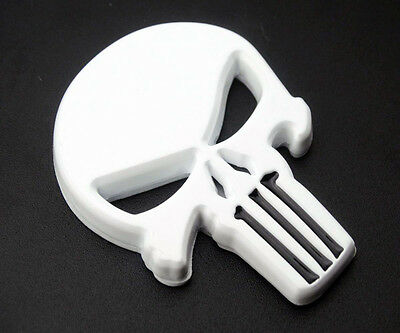 White Skull Emblem 3D Badge Decal Tank Fairing for Harley HD Choppers Bobbers