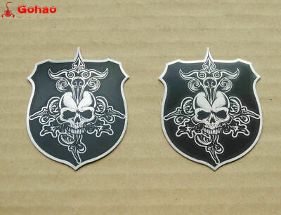 2X Skull Shield Badges Emblem Decal Sticker Harley Davidson Tank Rear Box Custom