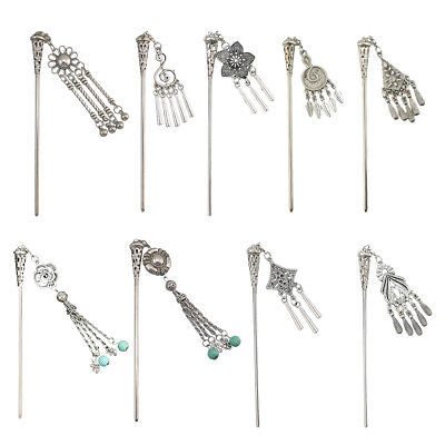 Tibetan Silver Chinese Ancient Bride Wedding Headpiece Kimono Stick Pin