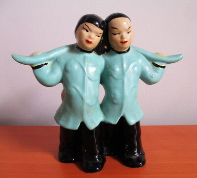 Hand Painted  Vintage Figurine Water Boy Girl Asian Chinese Blue Black Ceramic