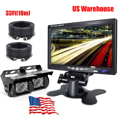 """7"""" LCD Monitor 4Pin For Truck Bus RV Rear View IR CCD Cameras Night Vision 33Ft"""