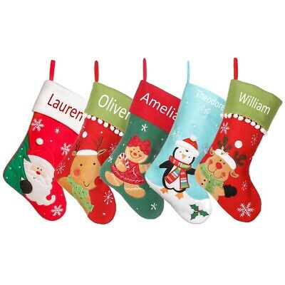 Personalised Christmas Stocking Embroidered Heat Press Xmas Red Fabric Sock Boot
