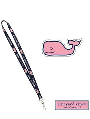 Vineyard Vines Lanyard and Pink Whale Sticker New