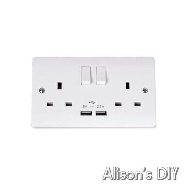 Double Wall Plug Socket 2 Gang 13A with 2 USB Charger Outlets White Click Curva