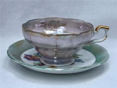 Small Art Deco Lusterware Porcelain Floral Tea Cup & Saucer