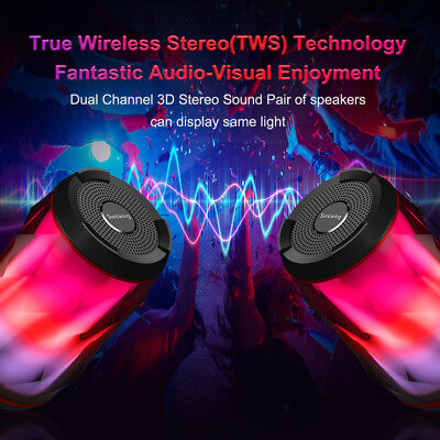 Portable Wireless Bluetooth Speakers LED 6 Patterns Super Bass Stereo Speaker HD
